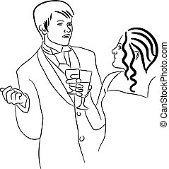 dating couple - simple line drawing of a young couple on an...