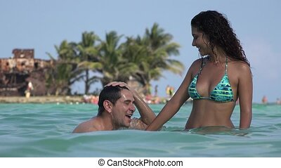 Dating Couple Having Fun On Tropical Vacation