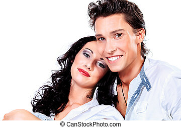 dating couple - Portrait of a happy smiling young people....
