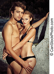 dating couple - Beautiful young couple in love having...