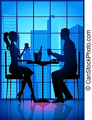 Dating - An illustration of a couple having a date