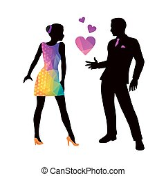 Dating, adult couple in love, vector illustration