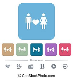 Dating flat icons on color rounded square backgrounds