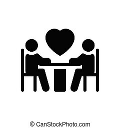 dating glyph flat icon