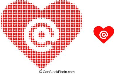 Dating heart address halftone dot icon illustration. Halftone array contains round elements. Vector illustration of dating heart address icon on a white background.