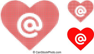 Dating heart address halftone dotted icon. Halftone array contains circle pixels. Vector illustration of dating heart address icon on a white background.