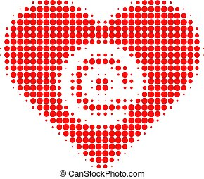 Dating Heart Address Halftone Dotted Icon