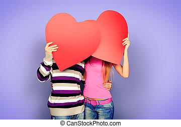 dating love - Happy young love couple posing together with...