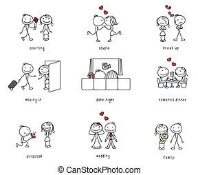 dating, pind, par, liv, figur, romantik
