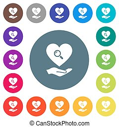 Dating service flat white icons on round color backgrounds