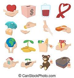 dato, donare, set, cartone animato, icone