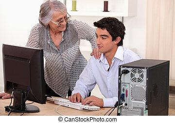 dator, äldre bemanna, problem, kvinna, portion