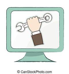 dator övervaka, -, illustration, vektor, holdingen, skruvnyckel, ikon