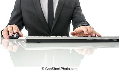 dator, affär, arbete, man