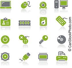 dator, &, enheter, ikonen, /, natura