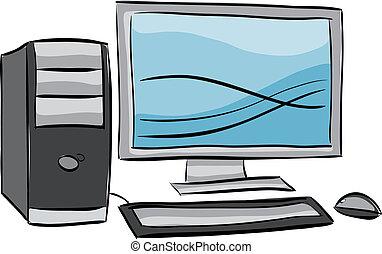 dator illustration, skrivbord