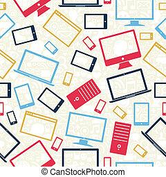 dator, mobil, och, kompress, ikonen, seamless, mönster