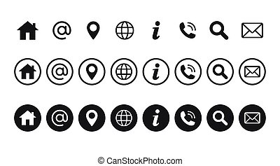 dator, nät, vector., websajt, set., ikon, mobil, sätta