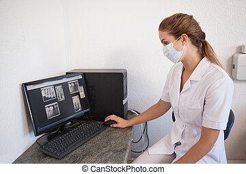 dator, se, assistent, röntgenstrålar, dental