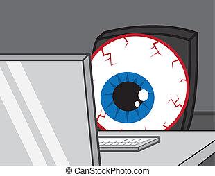 dator, skrivbord, ögon, blodsprängd