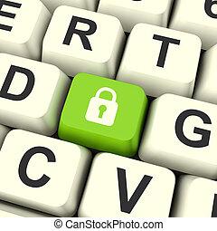 dator, visande, hänglås, skydd, gröna facit, säkerhet, säkerhet, ikon