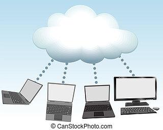 datorer, koppla samman, till, moln, beräkning, teknologi