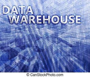 datos, almacén, ilustración