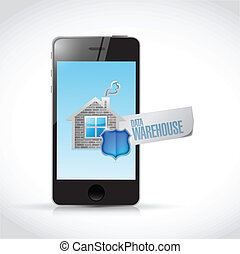 datos, almacén, señal, en, un, smartphone