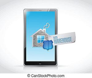 datos, almacén, señal, en, un, tableta, ilustración
