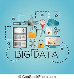 datos, análisis, base de datos, red, tecnología, ajustes, iconos, conjunto