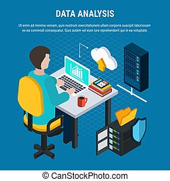 datos, análisis, isométrico, plano de fondo