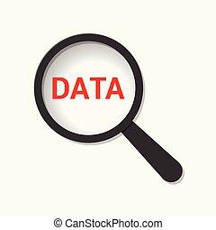 datos, concept:, aumentar, óptico, vidrio, con, palabras, datos