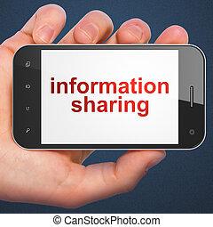 datos, concept:, información, compartir, en, smartphone