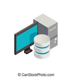 datos de la computadora, almacenamiento, icono, isométrico, 3d, estilo