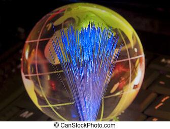 datos de la computadora, concepto, con, globo de la tierra, contra, fibra óptica, plano de fondo