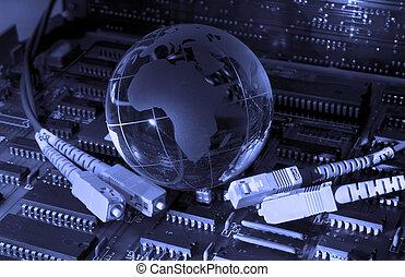 datos de la computadora, concepto, con, tierra