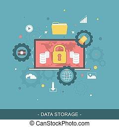 datos el almacenamiento, plano, concept., vector, illustration.