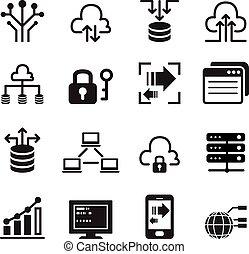 datos, iconos de tecnología, conjunto