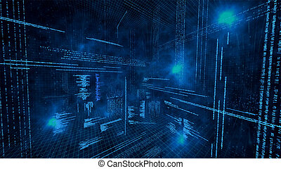 datos, ilustración, virtual