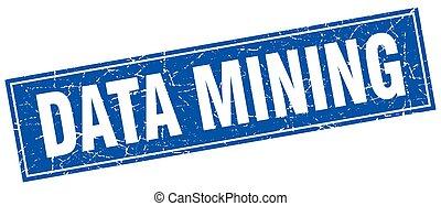 datos, minería, cuadrado, estampilla