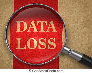 datos, pérdida, inscripción, por, un, lupa