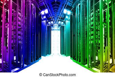 datos, red, cables, tiro, centro, servidores, tecnología