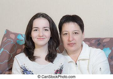 datter, adolescent, mor