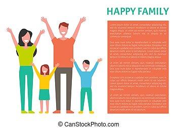 datter, familie, far, søn, hilste, mor, glade