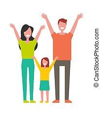 datter, oppe, opblussende, far, hænder, mor, hilsenerne