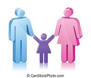 datter, pind, familie