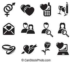 datując, miłość, ikony