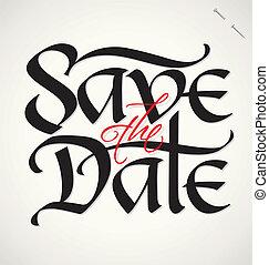 datum, beschriftung, vektor, retten, hand