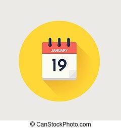 datum, januari, kalender, 19., dag