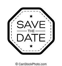datum, ouderwetse , sparen, lettering